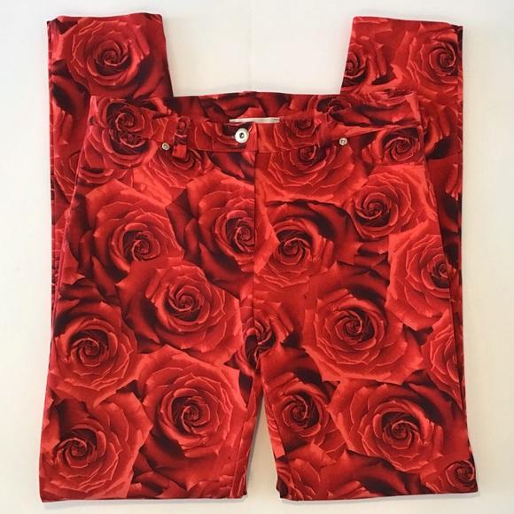 Joseph Ribkoff Rose Print Skinny Leg Pants, Size 8